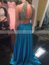A-line High Neck Silk-like Satin Sweep Train Crystal Detailing Prom Dresses #Favs020103316