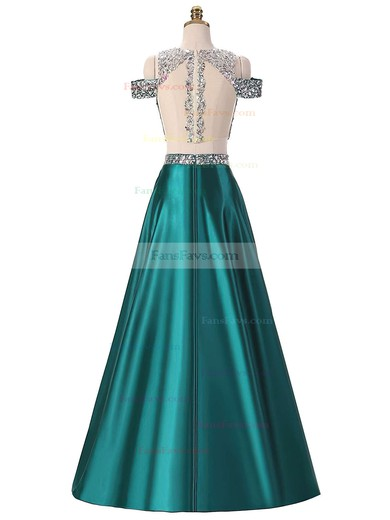 A-line Scoop Neck Floor-length Satin Prom Dresses with Sequins #Favs020103343