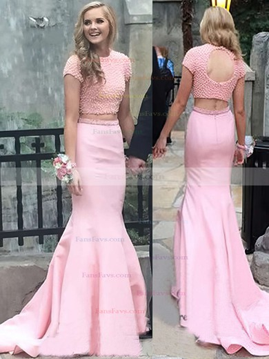 Trumpet/Mermaid Scoop Neck Sweep Train Satin Prom Dresses with Pearl Detailing #Favs020104541