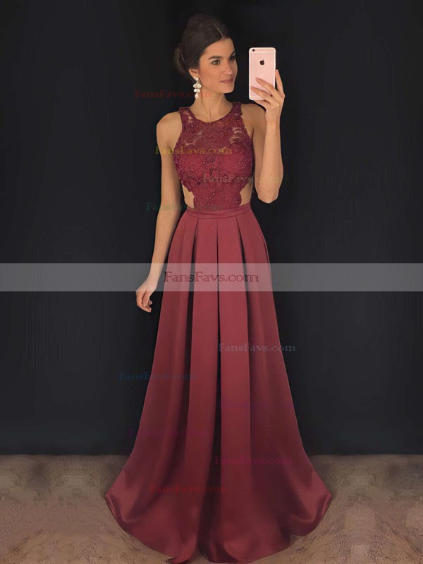 A-line Scoop Neck Sweep Train Satin Prom Dresses with Appliques Lace #Favs020104848