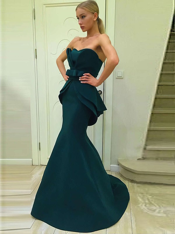 Trumpet/Mermaid Sweetheart Sweep Train Satin Prom Dresses with Sashes #Favs020105007