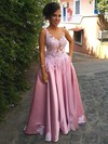 Princess V-neck Satin Sweep Train Appliques Lace Prom Dresses #Favs020105023