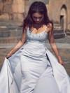 Sheath/Column Sweetheart Satin Sweep Train Beading Prom Dresses #Favs020105033