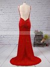 Trumpet/Mermaid V-neck Sweep Train Jersey Prom Dresses with Ruffle #Favs020103537