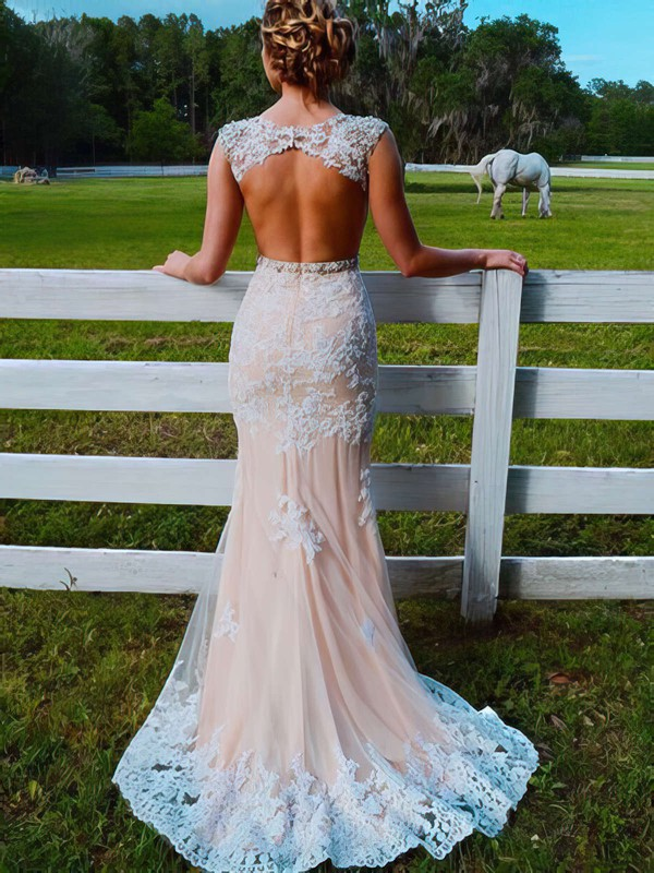 Trumpet/Mermaid Scoop Neck Sweep Train Tulle Prom Dresses with Appliques Lace Beading #Favs020103546
