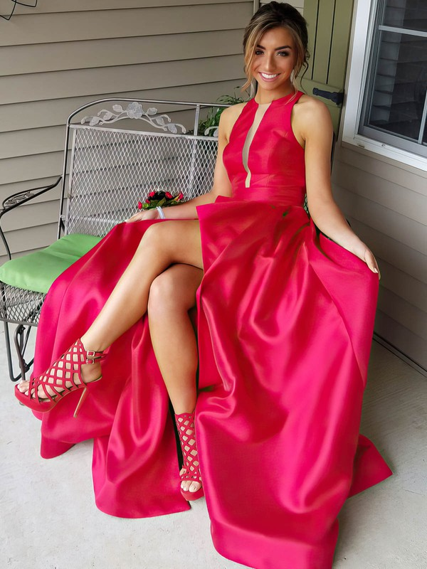 A-line Scoop Neck Sweep Train Satin Prom Dresses #Favs020105146