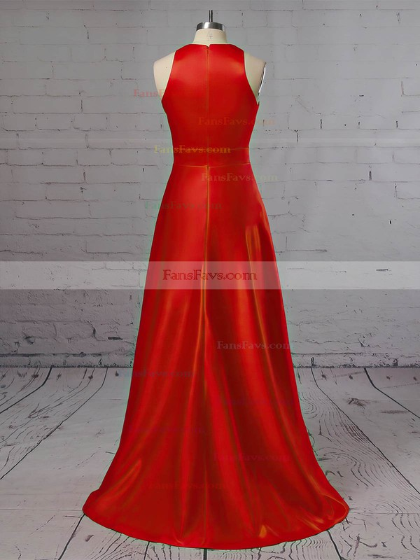 A-line Scoop Neck Satin Sweep Train Pockets Prom Dresses #Favs020105146
