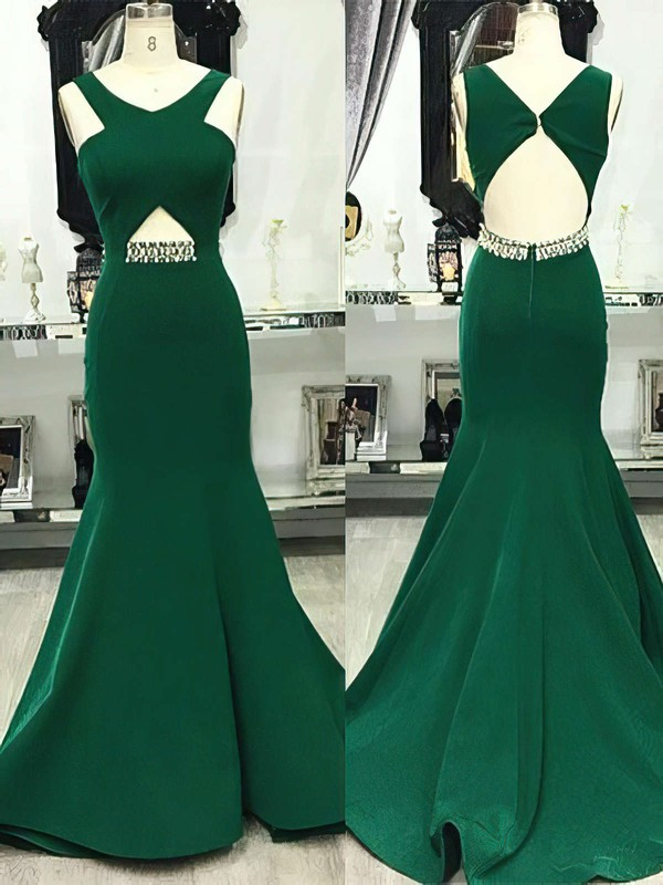 Trumpet/Mermaid V-neck Satin Sweep Train Beading Prom Dresses #Favs020105201