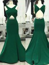Trumpet/Mermaid V-neck Sweep Train Satin Prom Dresses with Beading #Favs020105201