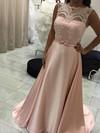 A-line Scoop Neck Satin Sweep Train Appliques Lace Prom Dresses #Favs020105227