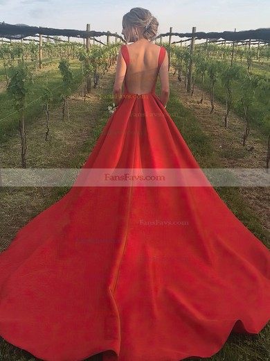 A-line Scoop Neck Court Train Satin Prom Dresses #Favs020105245