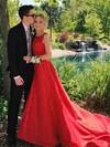 Princess Scoop Neck Satin Court Train Pockets Prom Dresses #Favs020105245