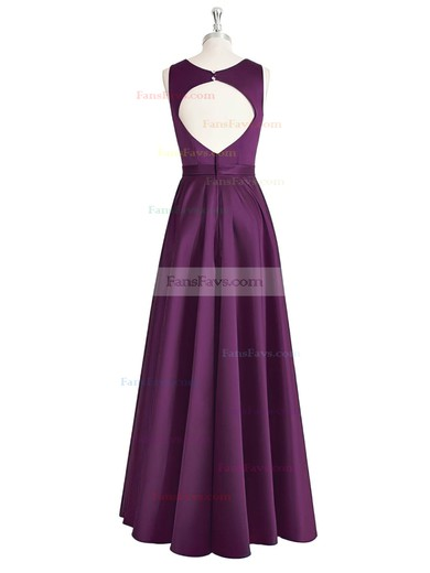 A-line Scoop Neck Floor-length Satin Prom Dresses with Sashes #Favs020105325