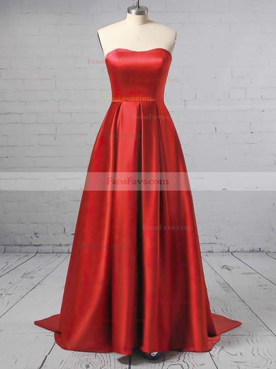 Princess Sweetheart Satin Sweep Train Prom Dresses #Favs020105348