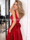 A-line Square Neckline Asymmetrical Satin Prom Dresses with Bow Sashes #Favs020105397