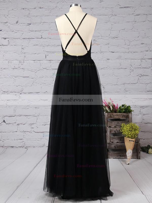 A-line V-neck Tulle Floor-length Split Front Prom Dresses #Favs020103576
