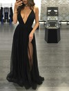 A-line V-neck Floor-length Tulle Prom Dresses with Split Front #Favs020103576