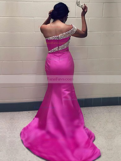 Trumpet/Mermaid One Shoulder Satin Sweep Train Crystal Detailing Prom Dresses #Favs020105747