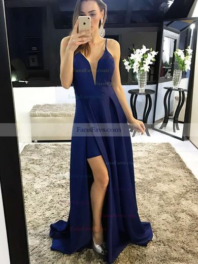 A-line V-neck Satin Sweep Train Split Front Prom Dresses #Favs020105750