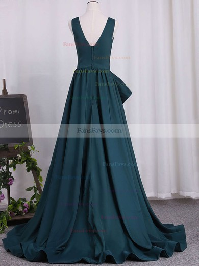 A-line V-neck Satin Sweep Train Prom Dresses #Favs020105758