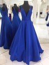 Princess V-neck Satin Floor-length Prom Dresses #Favs020105771