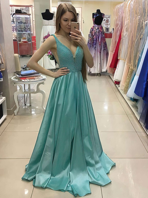 Princess V-neck Satin Sweep Train Pearl Detailing Prom Dresses #Favs020105776