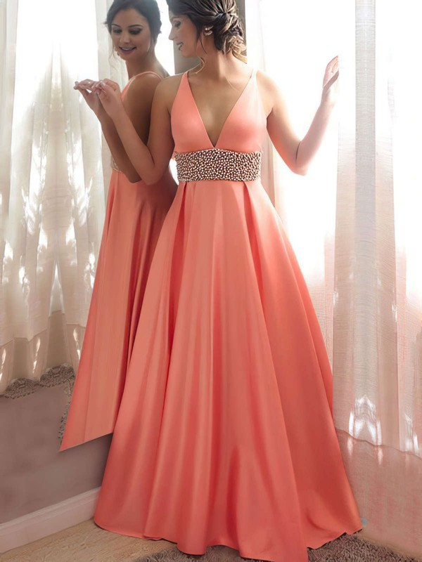 Princess V-neck Satin Floor-length Beading Prom Dresses #Favs020105777
