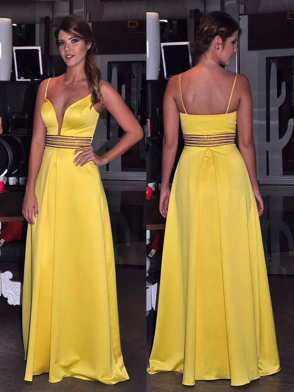 A-line V-neck Satin Floor-length Beading Prom Dresses #Favs020105783