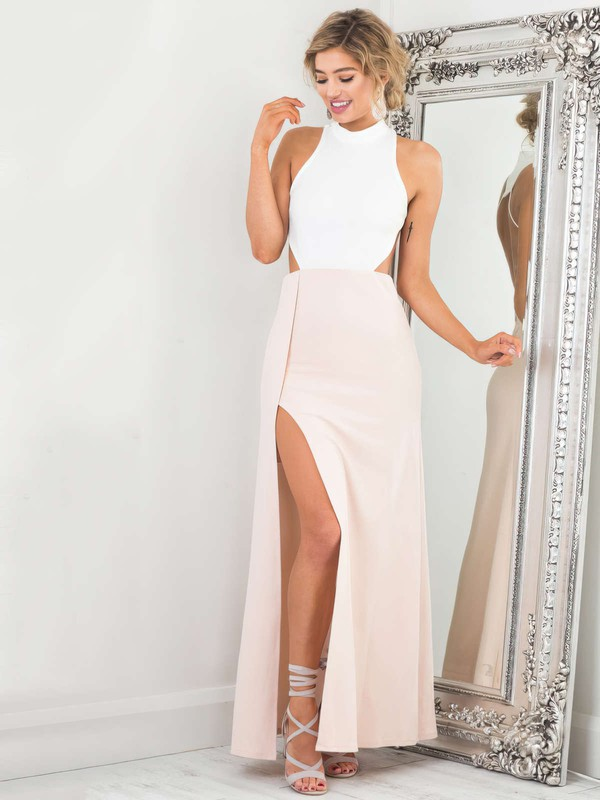 A-line High Neck Silk-like Satin Ankle-length Split Front Prom Dresses #Favs020105305
