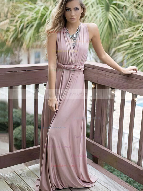 A-line V-neck Silk-like Satin Sweep Train Sashes / Ribbons Prom Dresses #Favs020105349