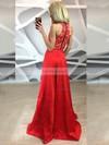 A-line Scoop Neck Lace Satin Floor-length Split Front Prom Dresses #Favs020105258