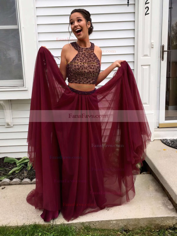 A-line Scoop Neck Tulle Floor-length Beading Prom Dresses #Favs020103601