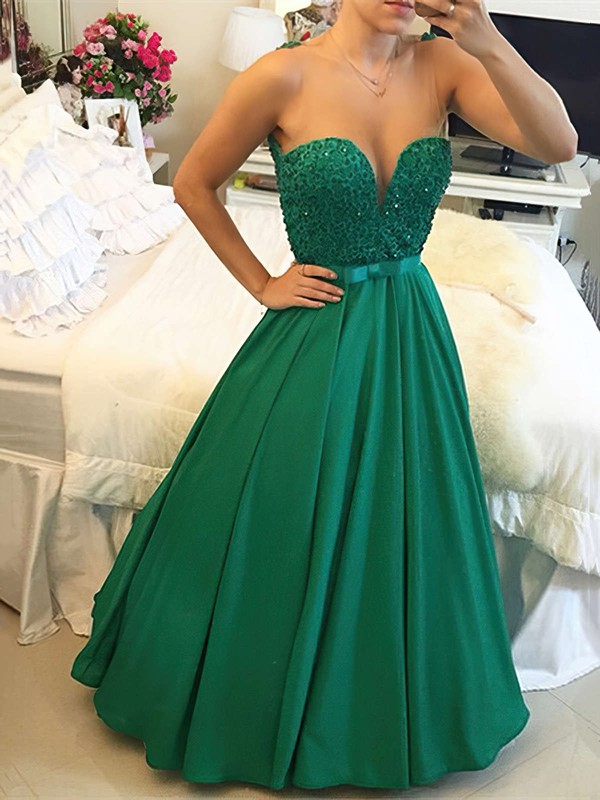 Princess Scoop Neck Satin Floor-length Beading Prom Dresses #Favs020103654
