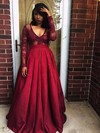 Ball Gown V-neck Satin Floor-length Appliques Lace Prom Dresses #Favs020104601