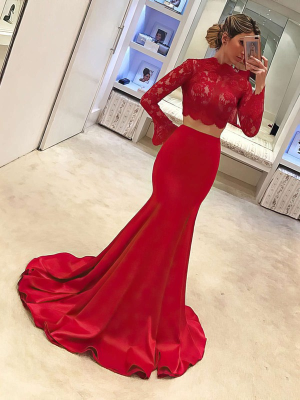 Trumpet/Mermaid High Neck Sweep Train Satin Tulle Prom Dresses with Appliques Lace Ruffle #Favs020104895