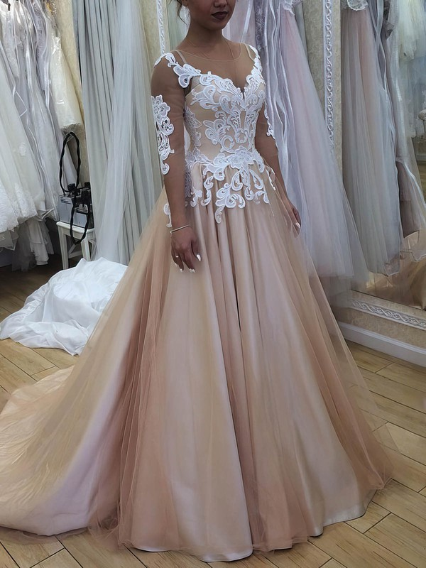 Ball Gown Scoop Neck Satin Tulle Sweep Train Appliques Lace Prom Dresses #Favs020105643