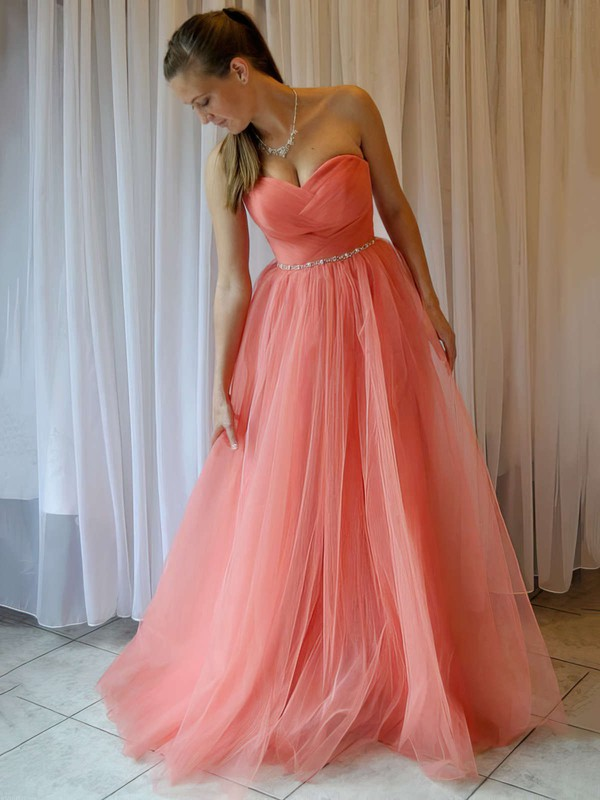 Princess Sweetheart Tulle Floor-length Beading Prom Dresses #Favs020103605