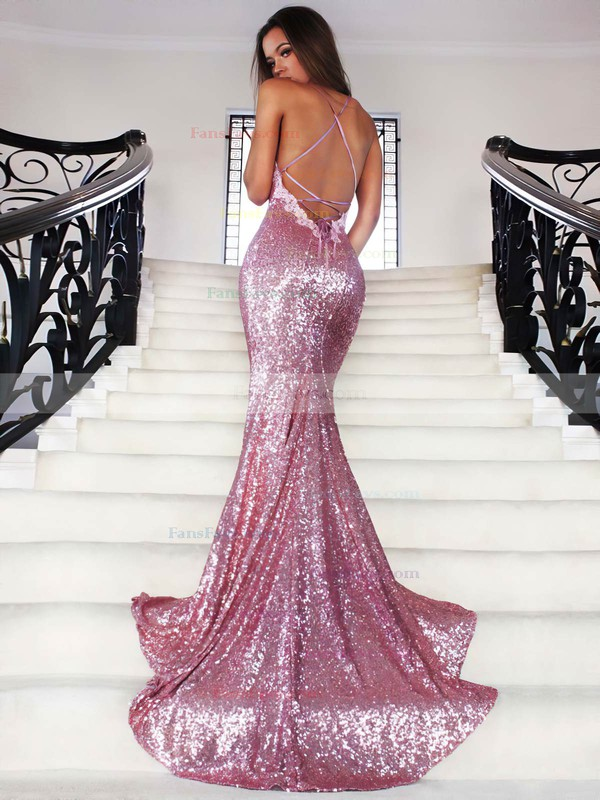 Trumpet/Mermaid V-neck Court Train Sequined Prom Dresses with Appliques Lace #Favs020102499