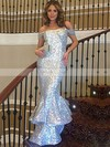 Trumpet/Mermaid Off-the-shoulder Sequined Floor-length Ruffles Prom Dresses #Favs020103688