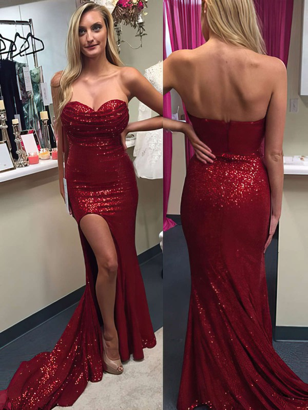 Trumpet/Mermaid Sweetheart Sweep Train Sequined Prom Dresses with Split Front #Favs020104516