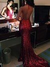 Trumpet/Mermaid V-neck Sequined Sweep Train Prom Dresses #Favs020104599
