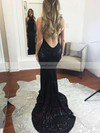 Trumpet/Mermaid Halter Sweep Train Sequined Prom Dresses with Sequins #Favs020104806