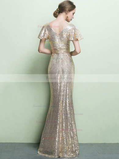 Sheath/Column V-neck Sequined Floor-length Ruffles Prom Dresses #Favs020104869