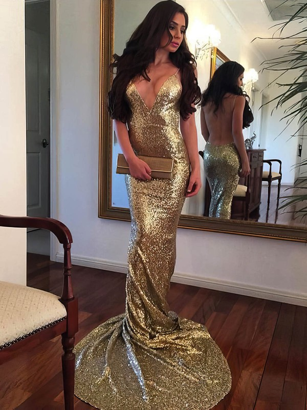 Trumpet/Mermaid V-neck Sequined Sweep Train Prom Dresses #Favs020104958