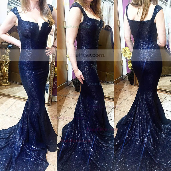 Trumpet/Mermaid Square Neckline Sequined Sweep Train Prom Dresses #Favs020104961
