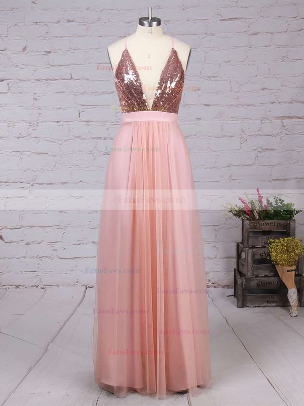 A-line V-neck Tulle Sequined Floor-length Split Front Prom Dresses #Favs020103637