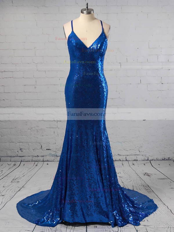 Trumpet/Mermaid V-neck Sequined Sweep Train Prom Dresses #Favs020105807