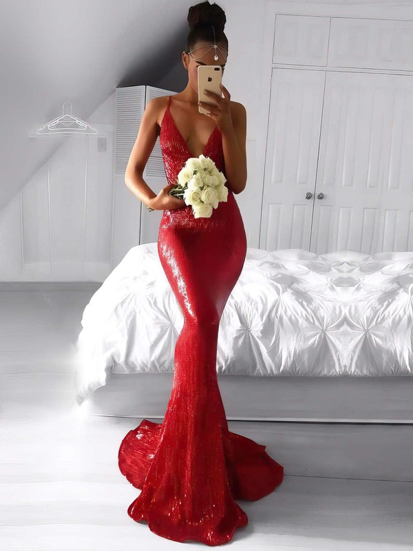 Trumpet/Mermaid V-neck Sequined Sweep Train Prom Dresses #Favs020105814