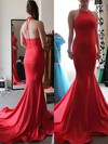 Halter Spaghetti Straps Elegant Trumpet/Mermaid Red Silk-like Satin Prom Dress #Favs020100042
