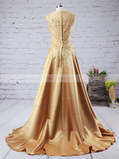 A-line V-neck Satin Sweep Train Beading Prom Dresses #Favs020102215